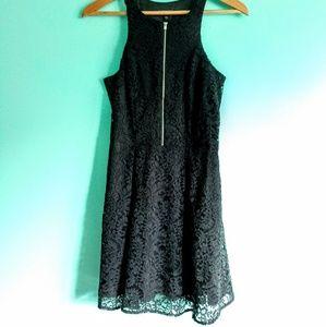 EXPRESS Women's Black High Neck Zip Front Dress